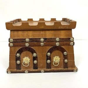 Vintage Wood Castle Fortress Jewelry Trinket Box